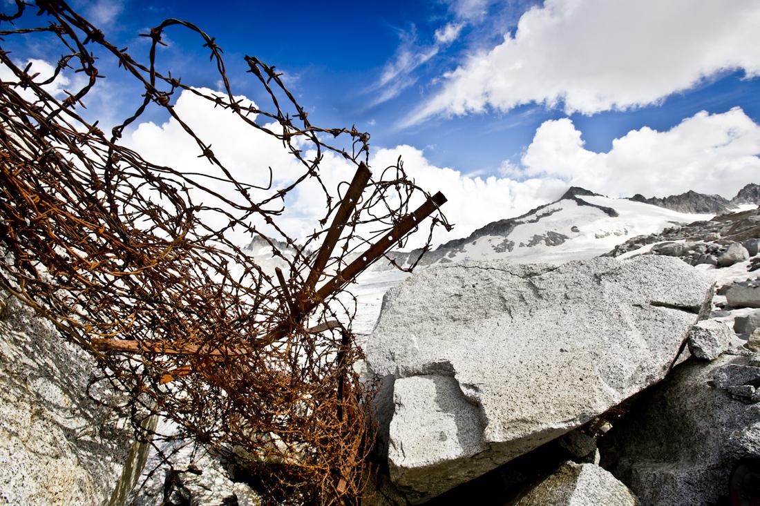 Adamello,barbed wire fence at Passo della Lobbia
